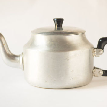 Vintage gray teapot tin tea pot retro kitchenware home decor