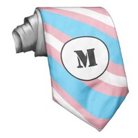 Custom transgender flag striped tie