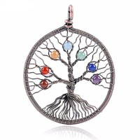 Chakra Round Stone Beads Pendant for Necklace- Tree Of Life with Chakras