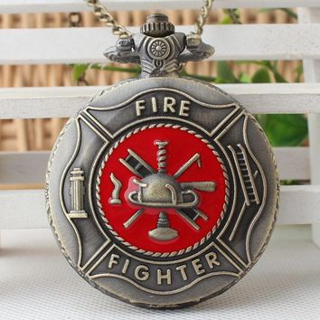 Red Fire Fighter Pocket Watch Vintage Bronze Steampunk Firefighter Quartz Watches Men Women Pendant Gift Necklace CF1072