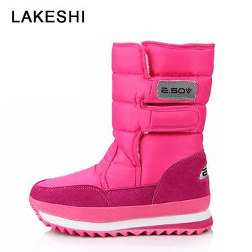 Women Snow Boots Keep Warm Winter Plush Boots Women Waterproof Ankle Boot Women Shoes Botas Mujer Botas Black White Plus Size 45