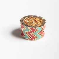 Zigzag Elastic Ring in Sea Green/Red Orange
