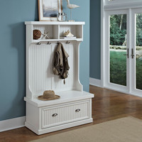 Home Styles Furniture 5022-49 Nantucket Distressed White 64.25-Inch Hall Tree