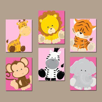Safari ANIMALS Wall Art, Jungle Animals, Safari Animals, Baby Girl Nursery Decor, Girl Bedroom Wall Decor, CANVAS or Prints Set of 6 Decor