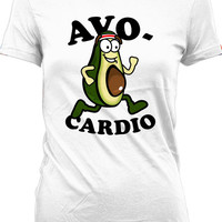 Funny Running Shirt Avo-Cardio Shirt Running Gifts Shirt For Runners Exercise Clothing Gym Apparel Training Gifts Mens Ladies Tee WT-176