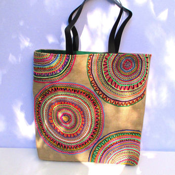 Funky Geometric Embroidered tribal motives on jute tote bag, handmade, unique, boho, artistic, resort, summer, beach  bag