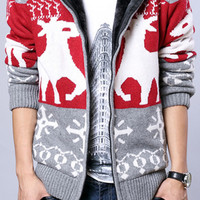 Deer Knitted Zippered Hooded Cardigan