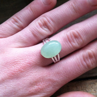 Green Aventurine Ring - Adjustable Ring - Mint Green Ring, Green Stone Ring - Adjustable Silver Ring