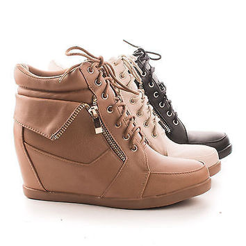 Peter30 Beige Pu By Top Moda, Folded Collar Round Toe Lace Up Hidden Wedge Fashion Sneakers