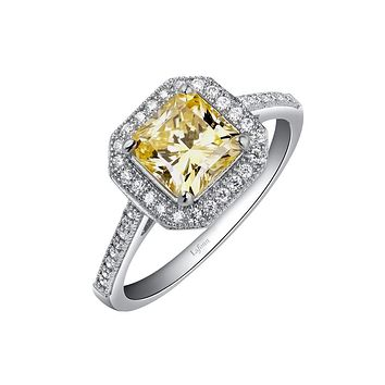 Lafonn Classic Sterling Silver Platinum Plated Lassire Simulated Diamond Canary Ring (1.62 CTTW)