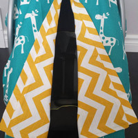 Infant car seat cover, Infant car seat canopy, Baby car seat canopy, Baby car seat cover, Carrier Cover, Infant Carrier, Chevron, giraffe