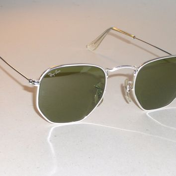 BAUSCH & LOMB RAY-BAN W1840 CLASSIC SILVER WIRE RB3 TRUGREEN AVIATOR SUNGLASSES