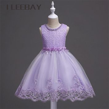 Luxury Baby Girls Formal Dress Brand Floral Kids Lace Princess Dress Children Evening Party Costume Infant Beading Tulle Clothes