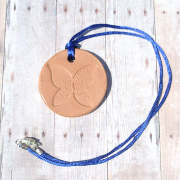 """Butterfly - Terracotta Clay Diffuser Necklace - Essential Oils - Blue Satin Cord - Large Terra Cotta Pendant 2"""" diameter"""