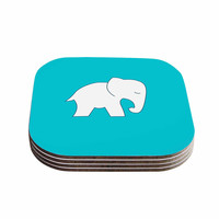 "NL Designs ""Cute Blue White Elephant"" Animals Blue Coasters (Set of 4)"