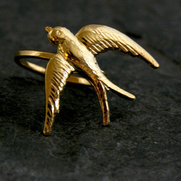 Gold ring,Gold Swallow Ring,Gold Bird Ring,Art Nouveau Jewelry,Flying BIRD Ring,Wedding Gold Ring