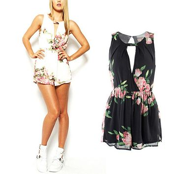 Summer Female Overalls Clothing Open Back Chiffon Floral Romper Women Playsuits Jumpsuit