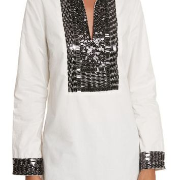 Tory Burch Tory Embellished Cotton Tunic | Nordstrom