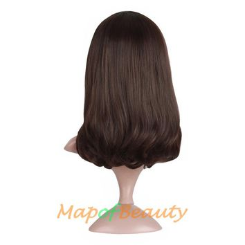"MapofBeauty 16"" dark Brown Black Short Curly Female Wigs for black women bob wig Heat Resistant Synthetic Hair peruca"