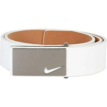 Licensed Golf New Nike Mens Sleek Modern Plaque Leather  Belt - White - 42