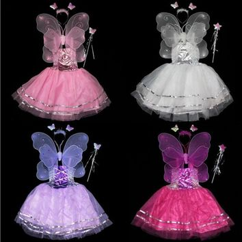 Kids Girls Butterfly Wing Headband Wand Dress 4pcs Set Children Fairy Cosplay Costume Performance Props  Party  Christmas