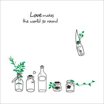 Love Makes The World So Round Drift Bottles Green Branch decal DIY home room decor wall sticker/wedding kitchen decoration gift SM6