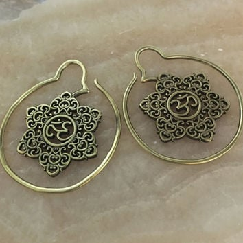 14 gauge brass Ohm mandala hoops 14g earrings stretched ears