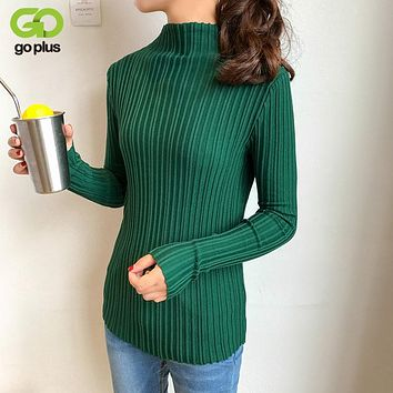 GOPLUS 2017 New High Elastic Solid Turtleneck Women Sweater Slim Sexy Tight Bottoming Knitted Pullovers Jumper C4751