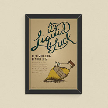 30% OFF Felix Felicis Liquid Luck Advertisement Poster, Harry Potter Print, Harry Potter Wall Art, Modern Home Decor, Wall Art