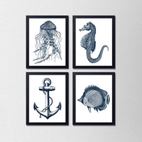 "Set of 4 Nautical Prints. Bathroom Posters. Vintage Inspired. Jelly Fish. Anchor. Sea Horse. Fish. Blue and White. Modern. 8.5x11"" prints"