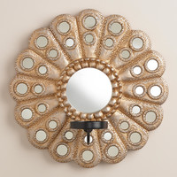 Round Metallic Mirror Sconce Candleholder - World Market