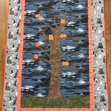 Halloween Scary Tree Pumpkin Quilted Wall Hanging Halloween Quilt Grey Orange Black Quilt