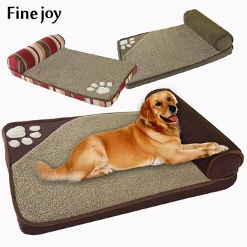 fine joy Pt Dog Bed Blue Brown Dog House Sofa Kennel Square Pillow For Large Dogs Cat House Beds Mat Pet Supplies