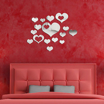 New 3D Heart Mirror Wall Stickers Decal Home DIY Decor Room Decoration  TB