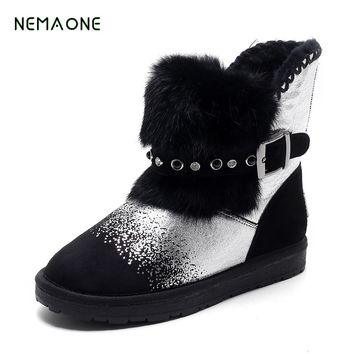 NEMAONE 2017 NEW genuine leather fur snow boots women ankle boots High-quality warm winter shoes Australian style lady shoes