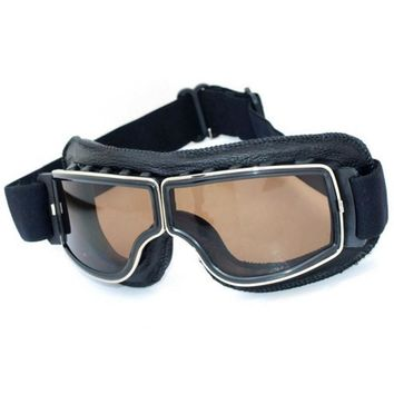 NEW Hot Aviator Pilot Cruiser Cycling Bicycle Motorcycle Goggles Glasses Eyewear Black Frame Smoke lens