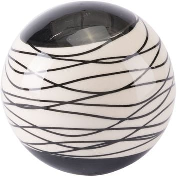 Black & Ivory Stripes Orb Figurine, Large