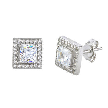 Sterling Silver Square Halo Cubic Zirconia Stud Earrings Micropave 9mm x 9mm