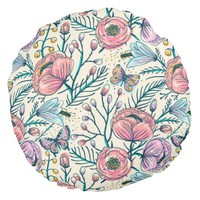 Chic Vintage Pink Rose Flower Round Throw Pillow