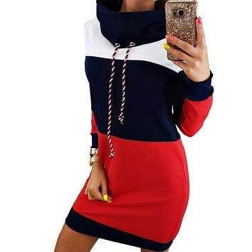 Women Winter Turtleneck Long Sleeve Hooded Plus Size 2017 Autumn Striped Colorful Hoodie Dress Sweatshirt Vestido De Festa GV009