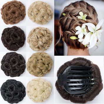 Claw Clip In Hair Bun Wave Curl Hair Piece Chignon Updo Cover Hair Extension ncw