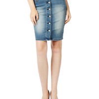 LE3NO Womens Stretchy High Waisted Denim Pencil Midi Skirt (CLEARANCE)