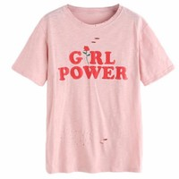 Distressed Pink Girl Power Tee
