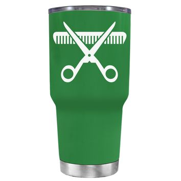HairStylist Scissor and Comb Silhouette on Kelly Green 30 oz Tumbler Cup