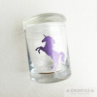 Glass Jar - Glittered Purple Unicorn