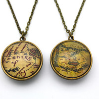 Double-Sided Lord of The Rings Necklace, The Shire Map, Mordor Map Necklace