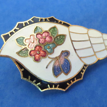 Cute Cloisonne Sea or Snail Shell Pin Decorated with Flowers & Butterfly