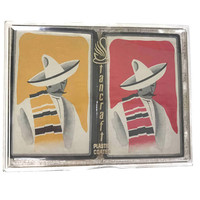 Vintage Playing Cards United States Playing Card Company Man in Sombrero Serape Design Internal Revenue Sticker Never Used Two Card Decks
