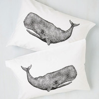 Nautical Worth Your Whale Pillowcase Set by ModCloth