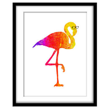Rainbow Flamingo in Nerd Glasses, Printable Poster, Fun Colourful Wall Art, Kid's Art